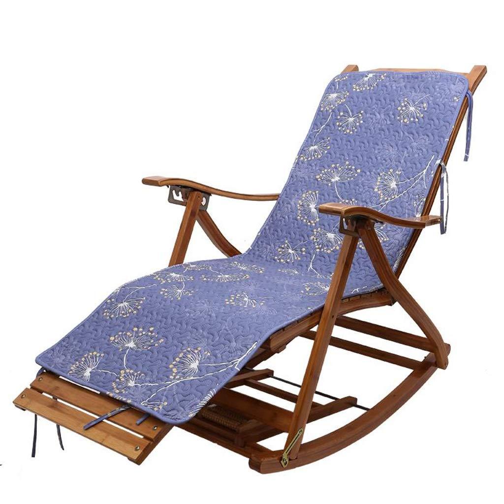 折りたたみロッキングチェアラウンジチェア竹製チェア寝室リビングルームバルコニーサンラウンジャー背もたれアームチェアパティオ庭園屋外用デッキチェア (Color : A+cushion) B07T49DSX4 A+cushion