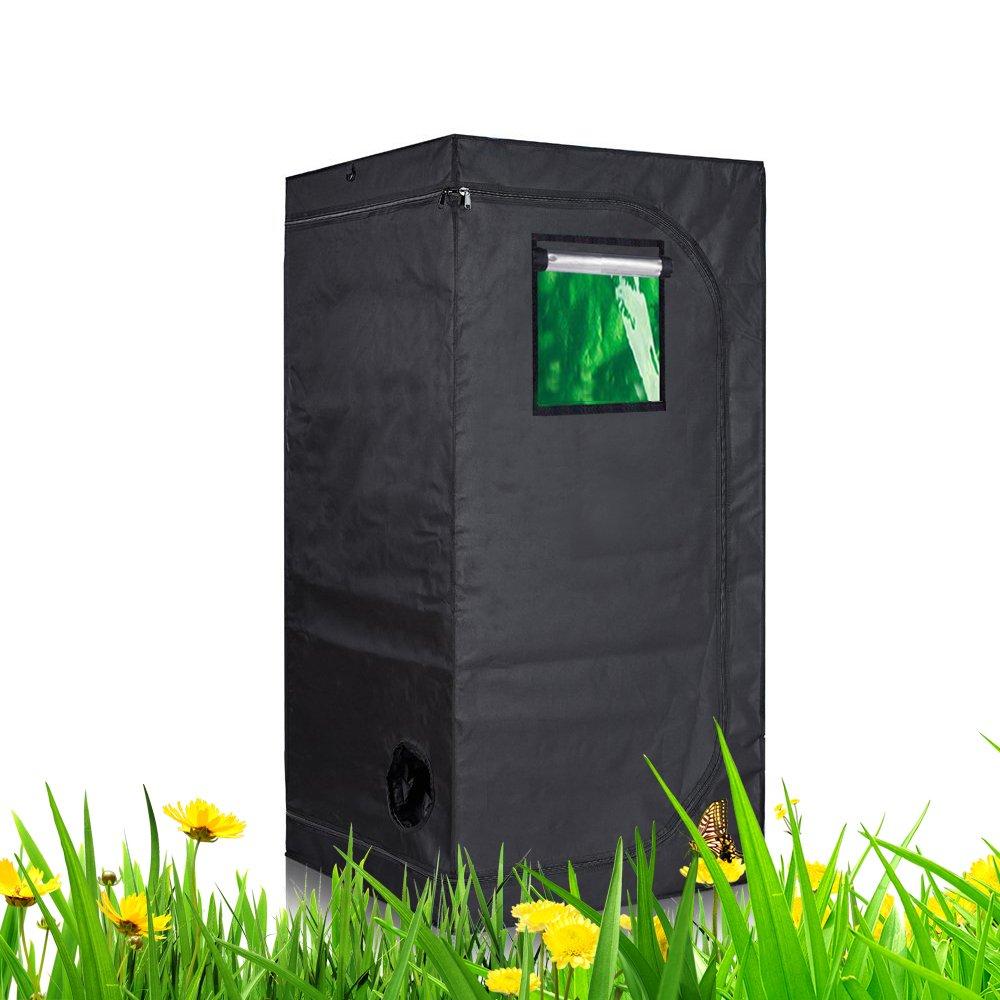 TopoLite 32''x32''x63'' Indoor Grow Tent Room 600D Reflective Diamond Mylar Hydroponic Garden Growing Plant w/Viewing Window/Metal Corner