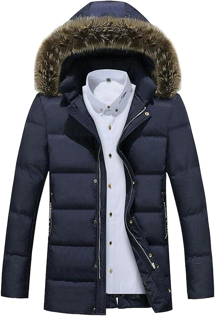 GloryA Mens Slim Faux Fur Hoodie Solid Zipper Outerwear Parka Coat