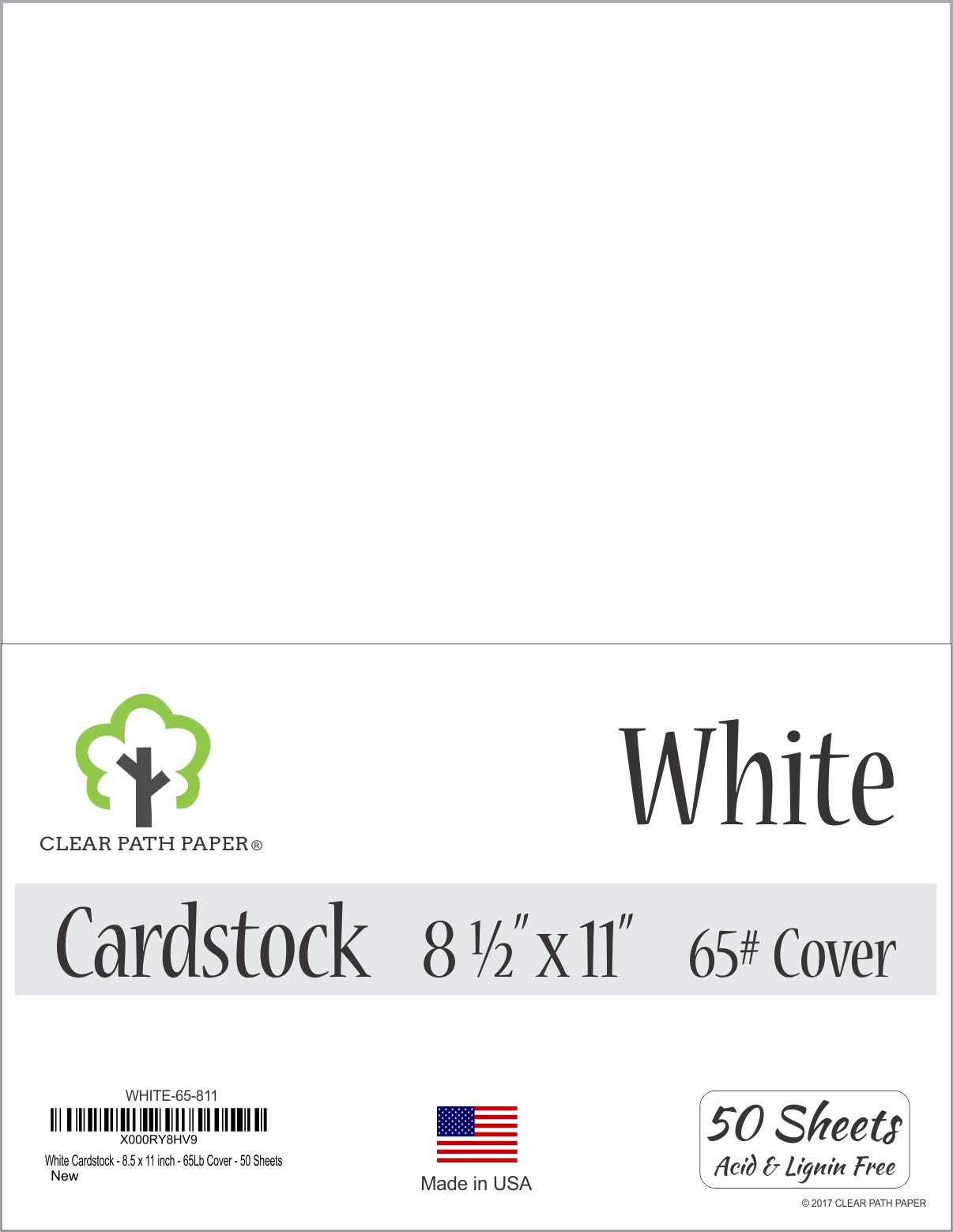 White Cardstock - 8.5 x 11 inch - 65Lb Cover - 50 Sheets