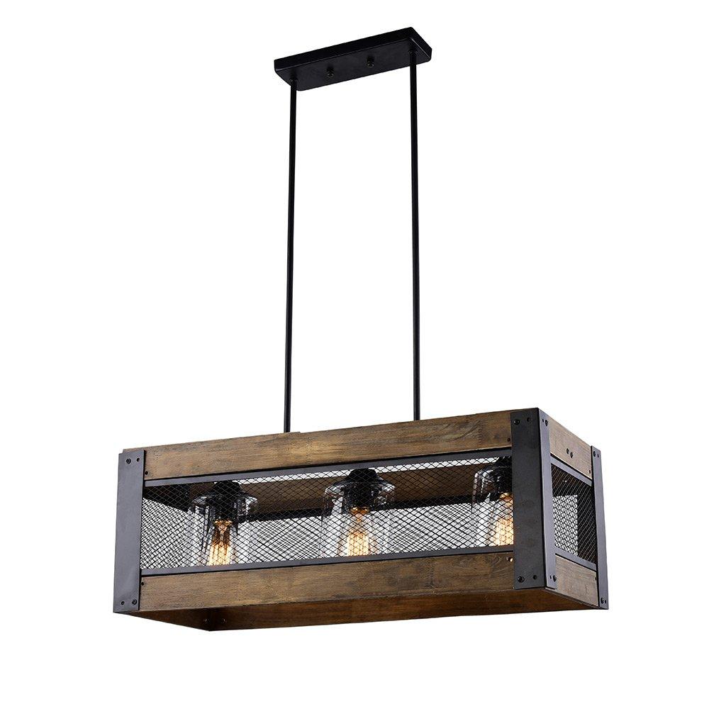 LALUZ 3-light Wood Kitchen Island Lighting Hanging Pendant Lighting ...