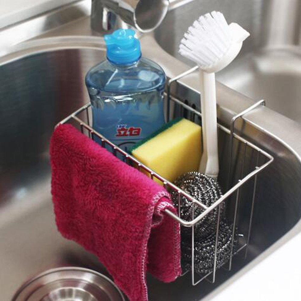 AHYUAN Kitchen Sink Caddy Stainless Steel Brush Sponge Soap Dishwashing Liquid Sink Drainer Holder Kitchen Tool (Sink Caddy B) by Ahyuan (Image #4)