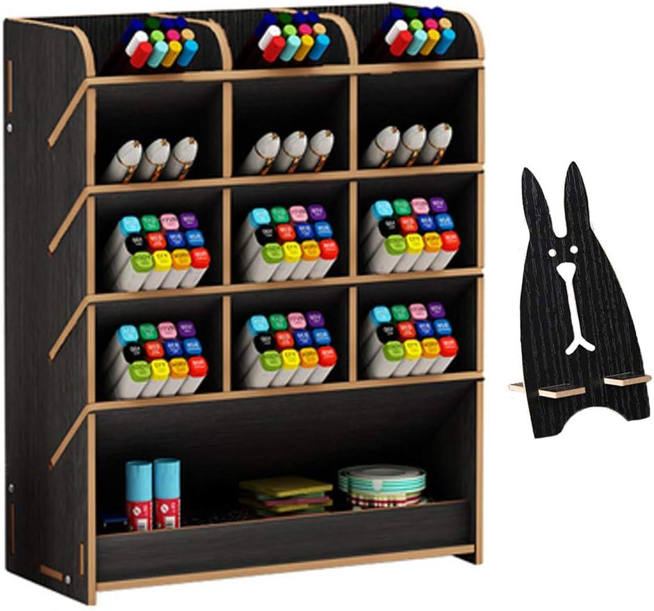 organizador de escritorio de madera 25.5x21 cm (B12-Black)
