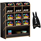 Marbrasse Wooden Desk Organizer, Multi-Functional DIY Pen Holder Box, Desktop Stationary, Home Office Supply Storage Rack with Drawer,Cell Phone Holder (B12-Black)