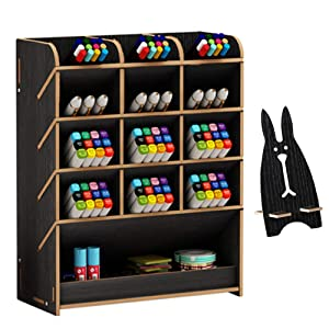 Marbrasse Wooden Desk Organizer, Multi-Functional DIY Pen Holder Box, Desktop Stationary, Home Office Supply Storage Rack with Drawer,Cell Phone Holder (B12-Black)