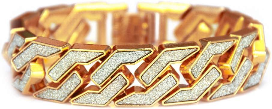 YOLANDEK 17mm Elegante Pulsera para Hombre Hip Hop Joyas Diamantes de imitación de Cristal Diamantes Cubano Chapado en Oro Cadena de Enlace Collar de 21 cm