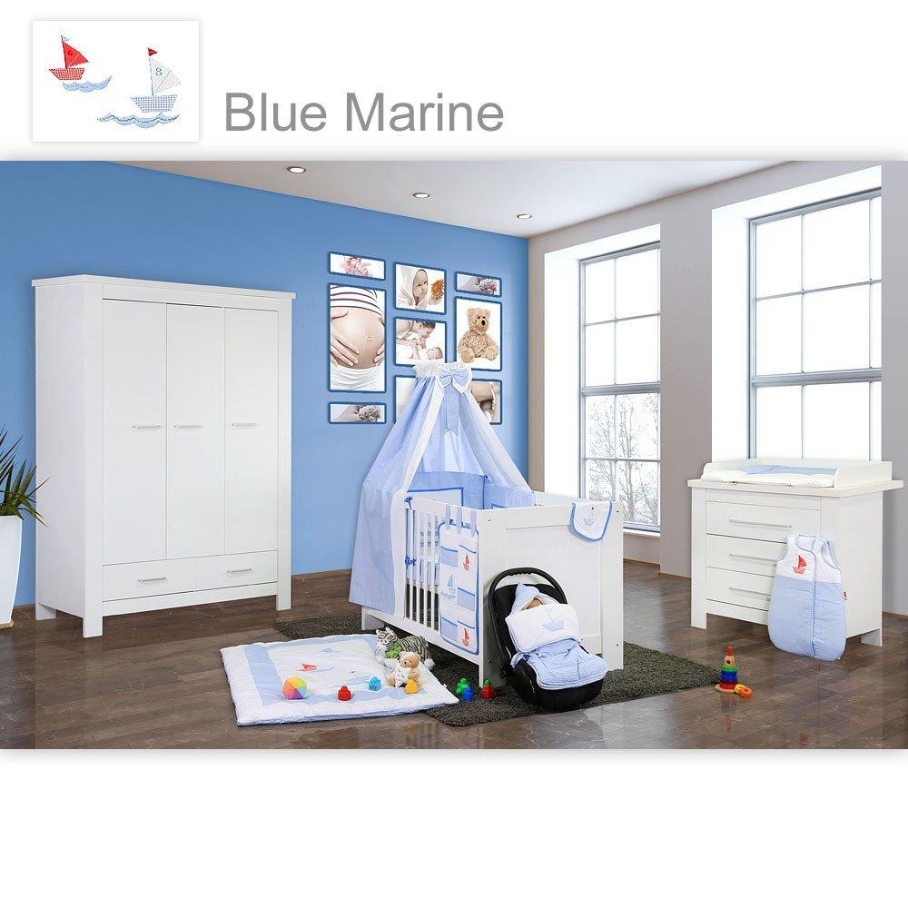 Babyzimmer Enni in weiss 10 tlg. mit 3 türigem Kl. + Textilien von Blue Marine