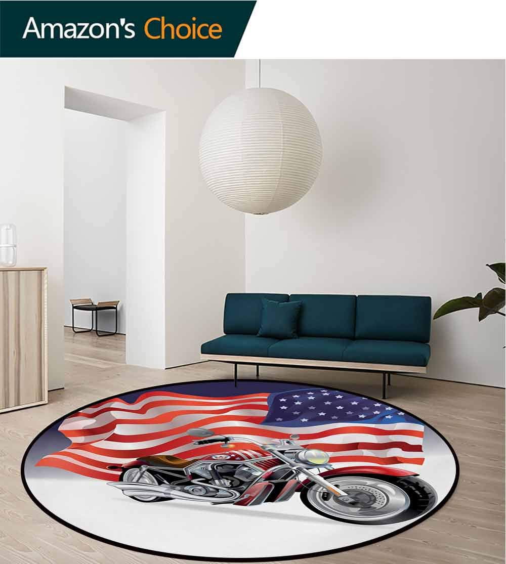 RUGSMAT Manly Carpet Gray Round Area Rug,Motorbike and Us Flag Sports Automobile Shows Motorcyclist Powerful Vehicles Passion Pattern Floor Seat Pad Home Decorative Indoor,Diameter-71 Inch by RUGSMAT (Image #3)