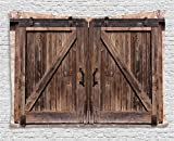 Cheap Ambesonne Rustic Tapestry Decor, Wooden Barn Door in Stone Farmhouse Image Vintage Desgin Rural Art Architecture, Wall Hanging for Bedroom Living Room Dorm, 60 W X 40 L inches, Beige
