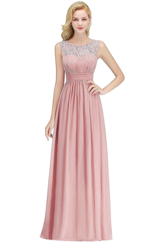 MisShow Elegante Damen Abendkleid 17/17 Langarm Kleid mit Spitzen