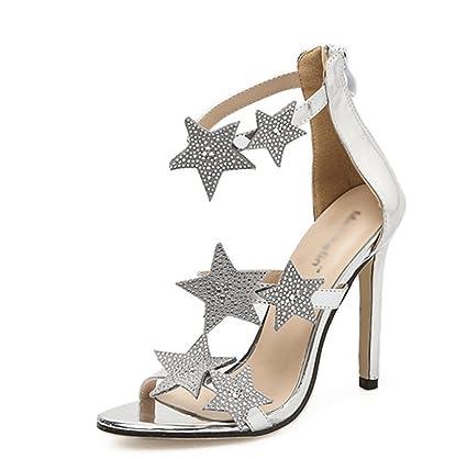d8fc496a893ae Amazon.com: Kitzen Women High Heel Sandals Shiny Star Peep Toe Ankle ...