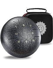 MOOZICA Stalen Tong Drum, 8-Note 6 Inch Mini Tong Drum Hue Drum Precussie Muziekinstrument Met Drum Mallets en Beschermende Case (Zilvergrijs)