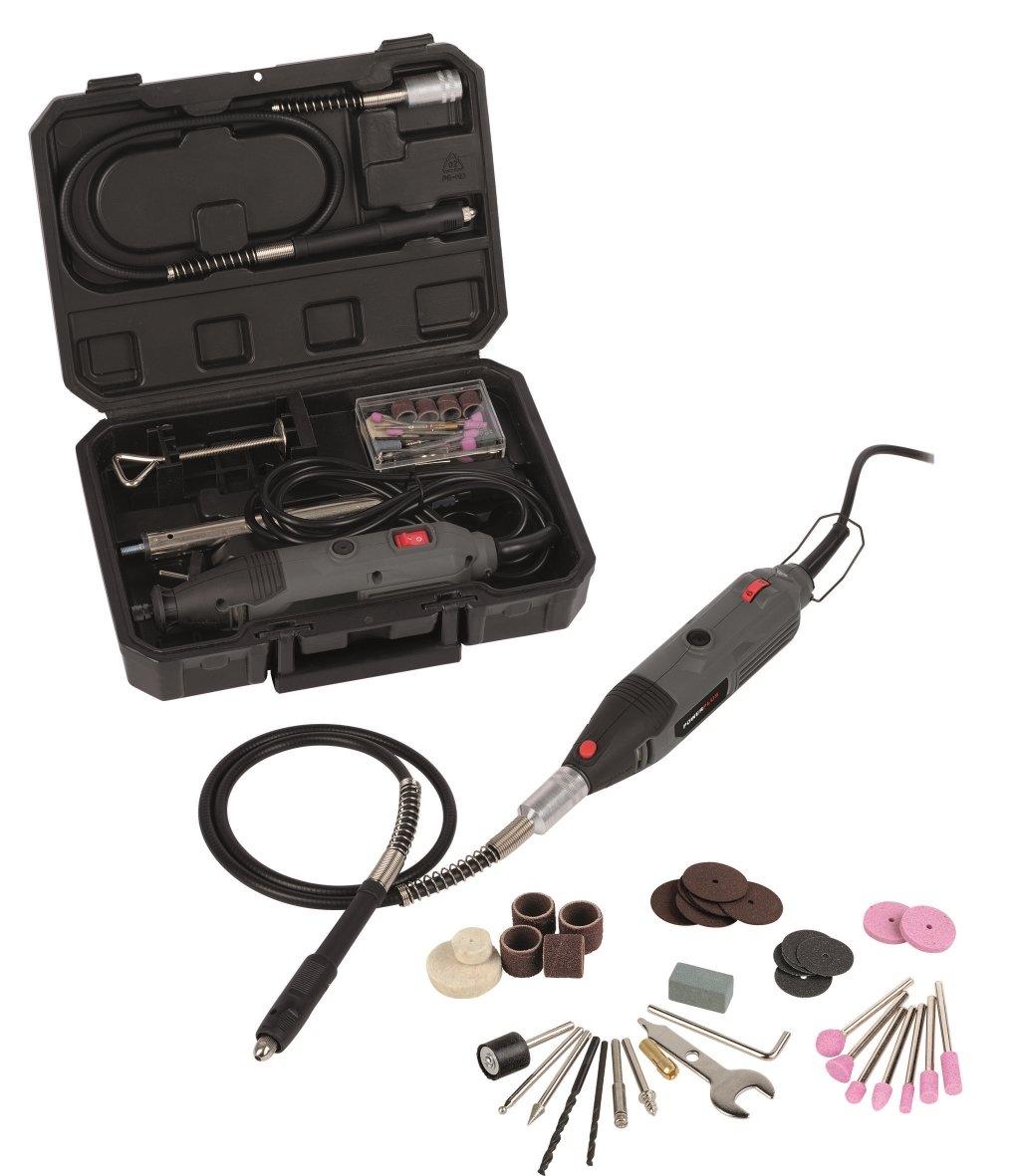 Kombitool Minischleifer Multifunktionsgerä t Koffer + 40 tlg. Zubehö r VARO 5400338073083
