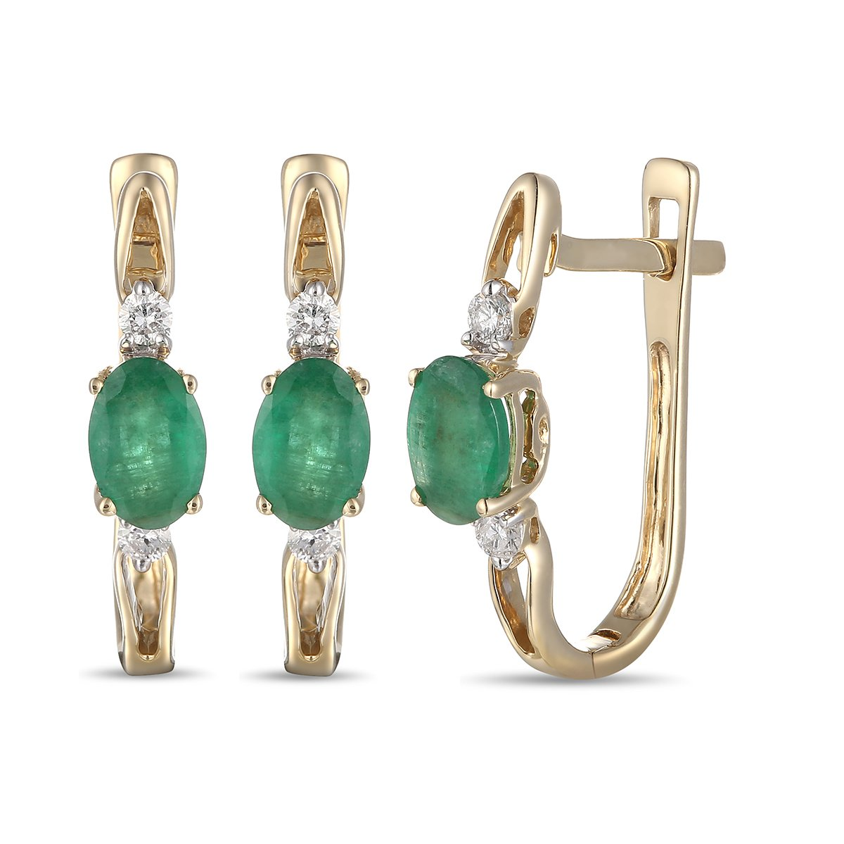 Mother's Day Gift, 14K Gold Emerald Earring with Diamond,Emerald Earrings, Diamond Earrings
