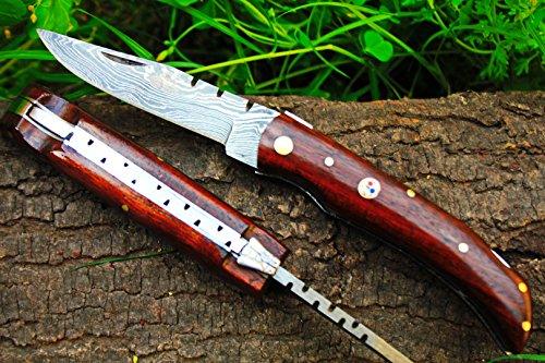 (DKC Knives Sale (38 6/18) DKC-56-x Scout Damascus Steel Folding Pocket Knife 4