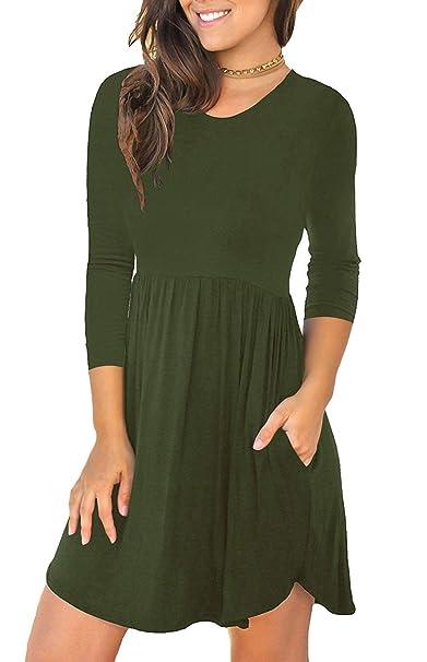 LACOZY Women s Long Sleeve Pockets High Waisted Short Dresses Pleated  Casual Swing T-Shirt Dresses 0d9e06fd11
