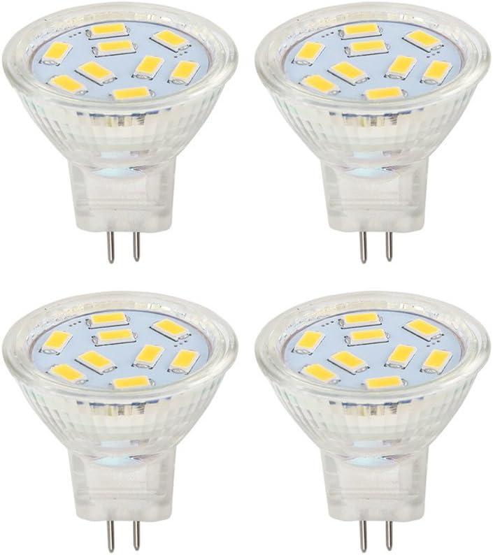 MR11 GU4 Bombillas 2W LED, 20W Bombillas Halógenas Equivalente, GU4 Base, 12V AC/DC Blanco cálido 3000K, adecuado para el hogar, el paisaje incrustado iluminación (4 unidades) (MR11-2W-3000K)
