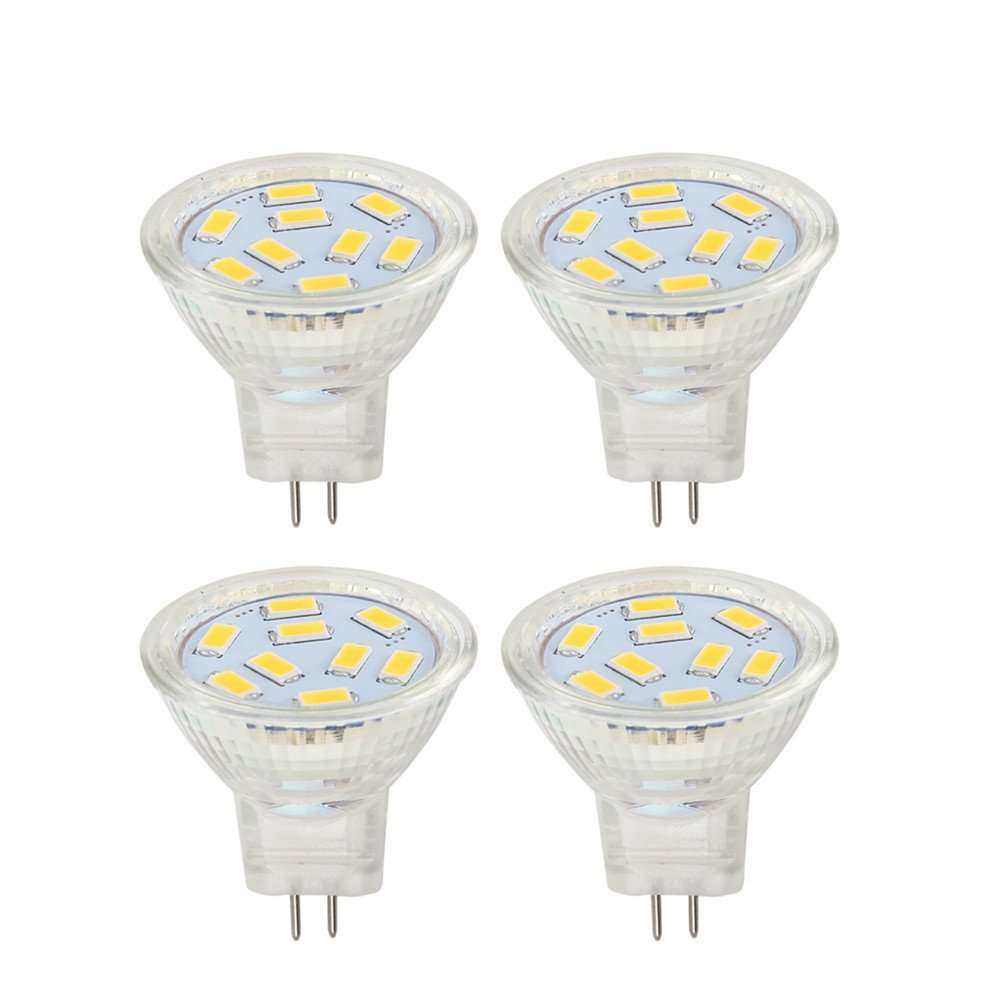 MR11 GU4 Led Bulbs 2W 12V AC/DC, 24V DC, 20W Halogen Replacement, Warm White 3000K (Pack of 4)