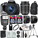 Canon EOS Rebel T5i DSLR Camera Full HD 1080p + Canon 18-55mm IS STM Lens + .43x Wide Angle Lens + 2.2X Telephoto Lens + UV Filter + 64GB Storage + Flash + Wireless Remote - International Version