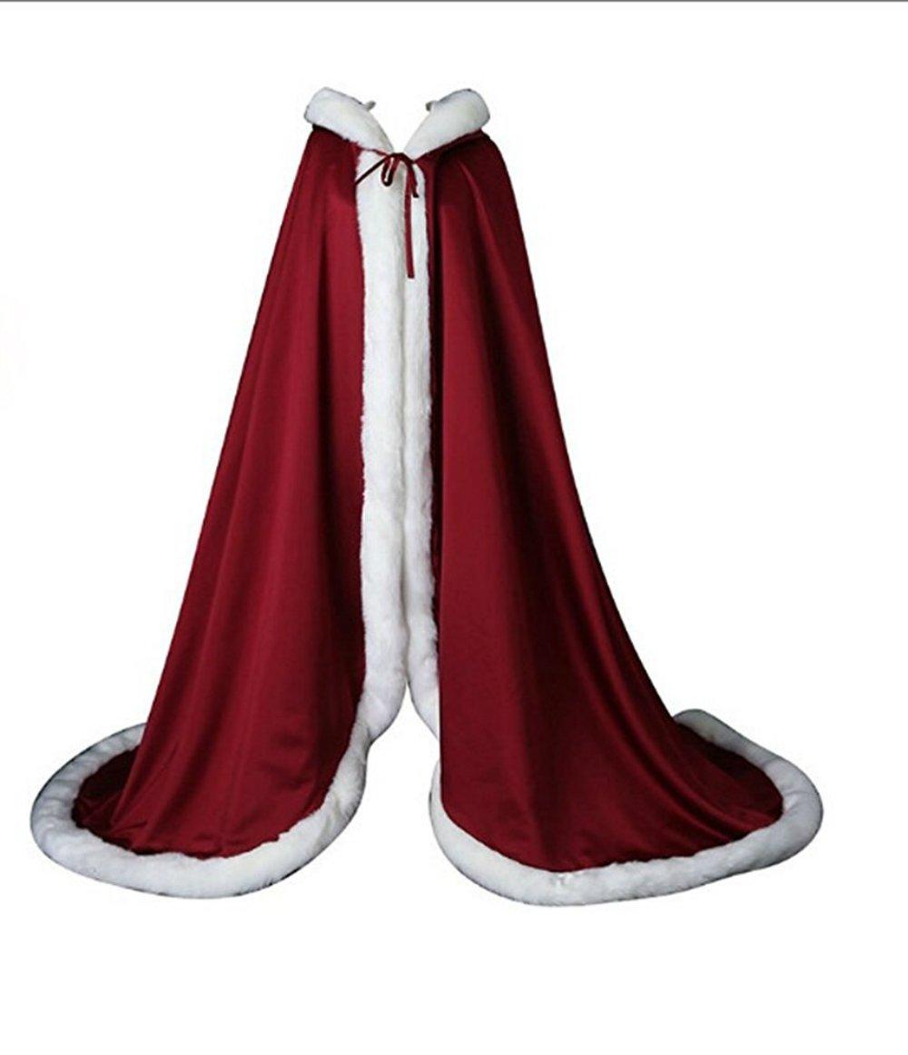 Gotidy Bridal Luxury Fur Wedding Hooded Cape Long Women Cloak Party Wrap Stole GTD185
