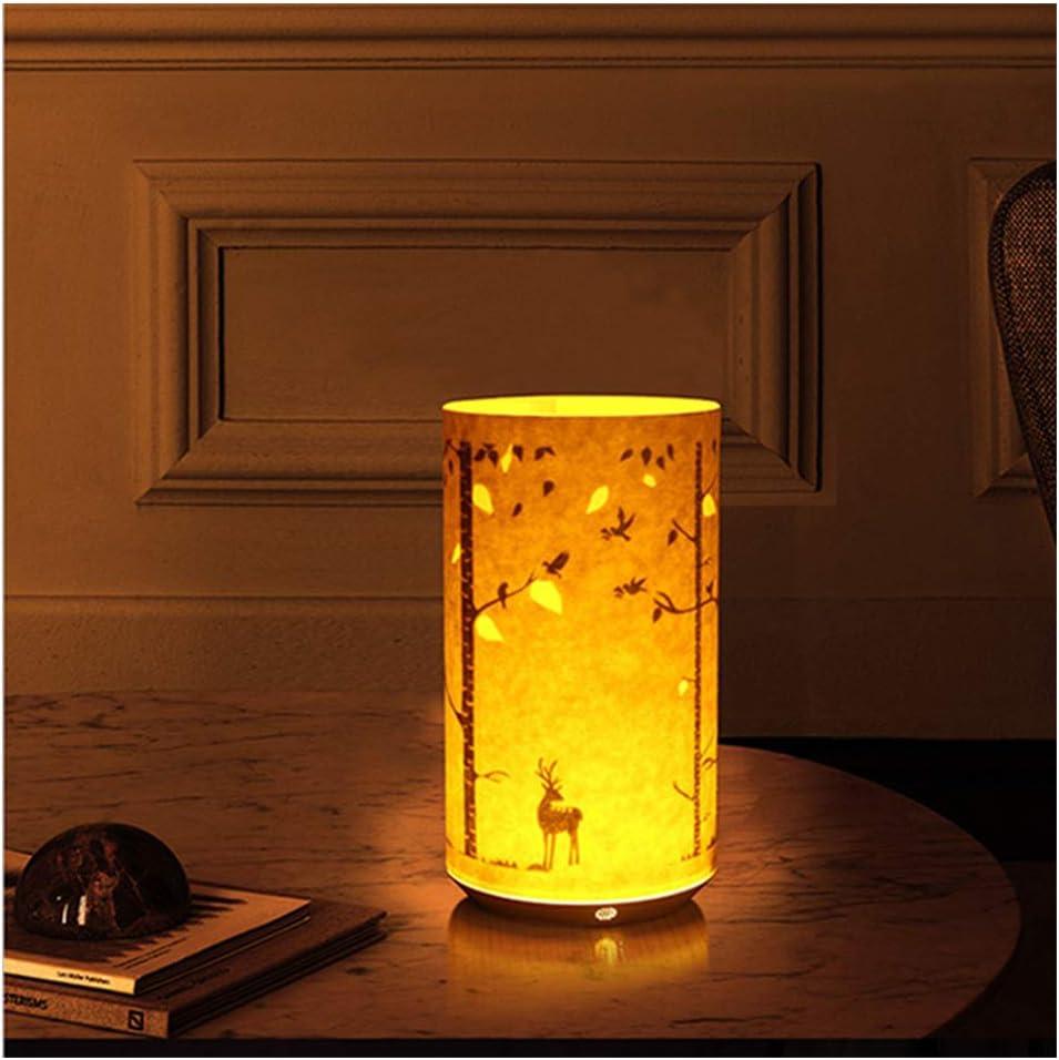 WLKDMJ Nachtlicht für KinderNachtlicht, Schlafzimmerlicht tragbarer Tisch Nachttisch Energiesparlampe Infrarot-Fernbedienung Pergament schnitzen Nachtlicht- Boat Forest Deer