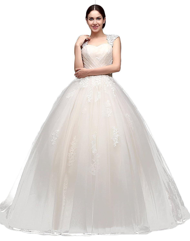 KekeHouse?Tulle Wedding Dress for Bride 2016 A-line Beaded Sash Women Wedding Dress Elegant Ribbon