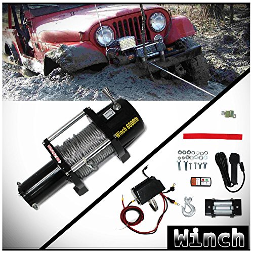 WIN-2 X 1pc Brand New Universal DC 12V 6000lb/2722kg Capacity Electric Waterproof Recovery Winch Kit With Wireless Remote Control Switch For ATV UTV Pickup Truck SUV Van Car & Multiple Applications ()
