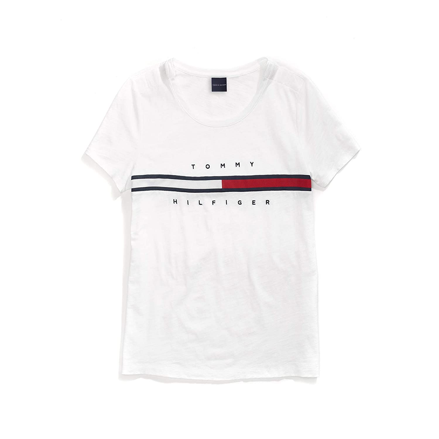 b7631db07 Tommy Hilfiger Women's T Shirt with Magnetic Closure Signature Stripe Tee  at Amazon Women's Clothing store:
