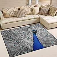 SAVSV Large Area Rugs 53 x 4,Blue Stunning Peacock Printed,Lightweight Non Slip Floor Carpet For Living Room Bedroom Home Deck Patio