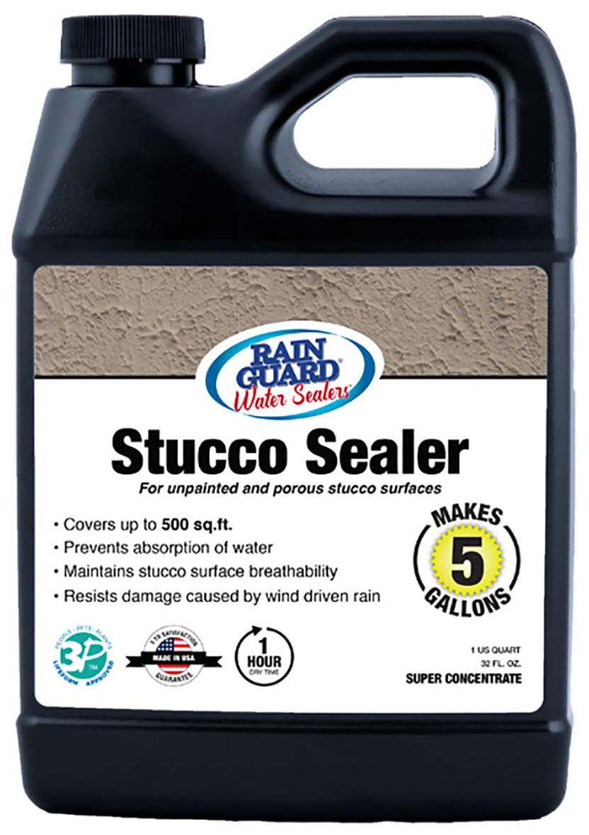 Rain Guard Water Sealers Sp 7003 Stucco Sealer Super Concentrate Water Repellent For Color Integrated Or Unpainted Stucco Covers Up To 500 Sq Ft 32 Oz Makes 5 Gallons Invisible Clear Industrial Scientific Amazon Com