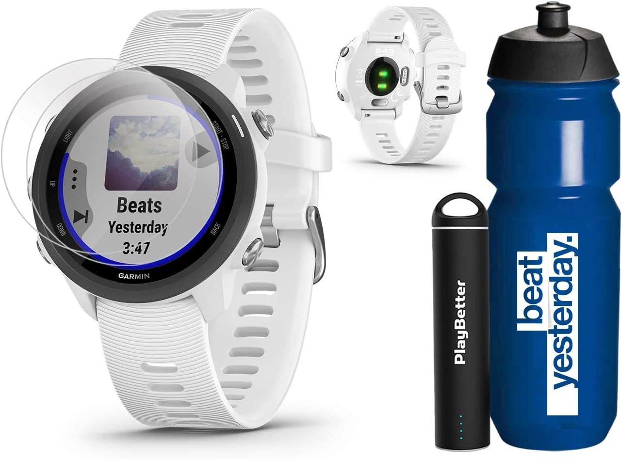 Garmin Forerunner 245 Music White Running GPS Watch Runners Gift Bundle Garmin Water Bottle, HD Screen Protectors PlayBetter Portable Charger Music Spotify, PulseOx 2019 010-02120-21