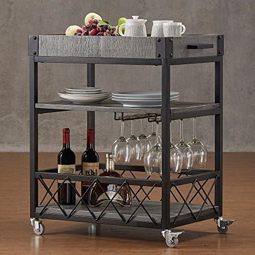 Bar Serving Cart TRIBECCA Home Myra Rustic Mobile Kitchen Grey