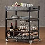wine and liquor cart - TRIBECCA HOME Myra Rustic Mobile Kitchen Bar Serving Wine Cart Grey