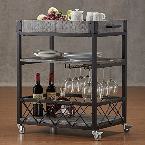 Myra Rustic Mobile Serving Bar Cart Black Friday Deal 2020