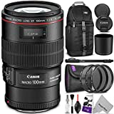 Canon EF 100mm f/2.8L IS USM Macro Lens w/ Advanced Photo and Travel Bundle - Includes: Altura Photo Sling Backpack, Monopod, UV-CPL-ND4, Camera Cleaning Set