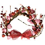 Decorative Glitter Sparkling Valentine's Day Holiday Heart Wall Hanging Decor Grapevine Twigs Hearts Picks Red Pink Berries Bow Ribbon Home Accent Window Door Accent Country Primitive Decoration Whimsical Shabby Chic V-day Gift by KNL Store