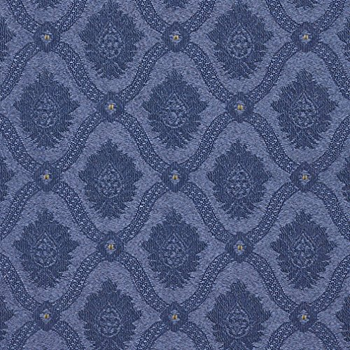 A495 Navy and Gold Two Toned Brocade Medallion Upholstery Fabric by The Yard