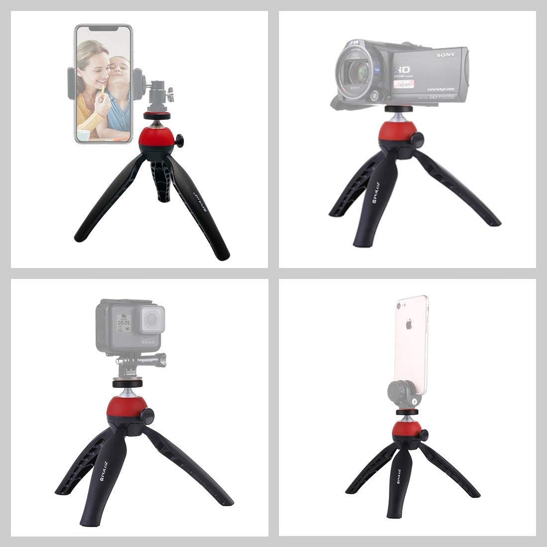 YANTAIANJANE Camera Accessories Pocket Mini Tripod Mount with 360 Degree Ball Head for Smartphones Color : Yellow Blue DSLR Cameras GoPro