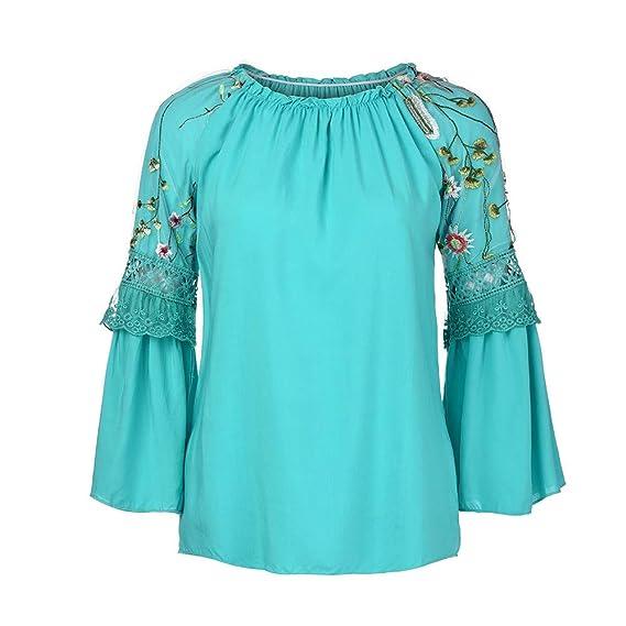 JiaMeng Blusa Holgada Irregular Blusa de O-Cuello de la Manera Floral Bordado Encaje Flare