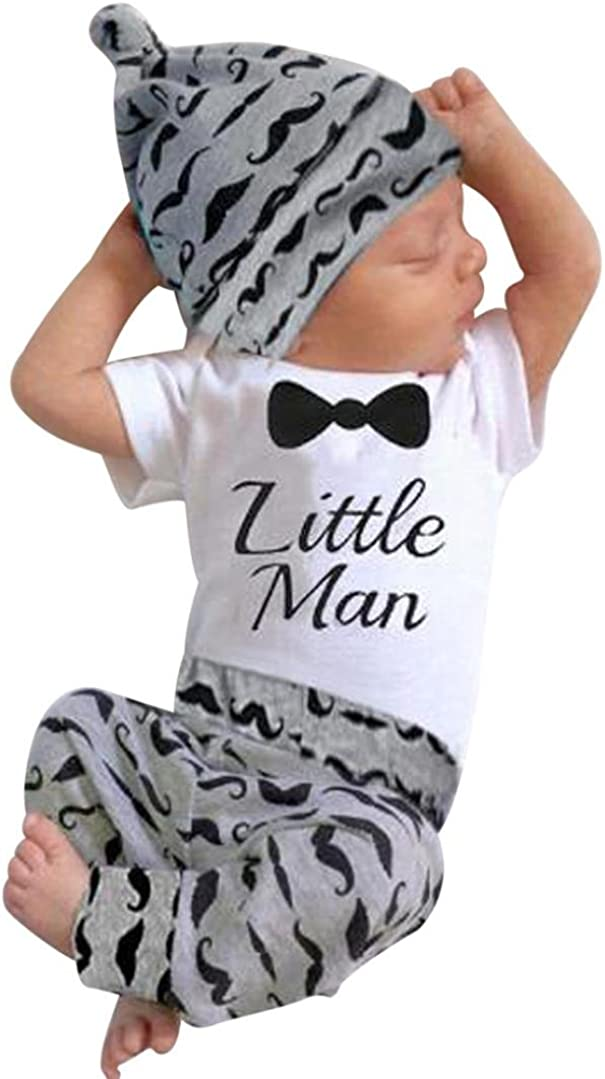 IEason Newborn Kids Baby Boys Print Outfits Clothes Romper Tops+Long Pants+Hat Set