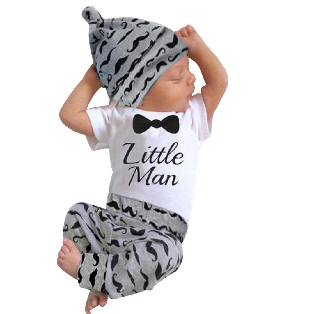 IEason Newborn Kids Baby Boys Print Outfits Clothes Romper Tops+Long Pants+Hat Set