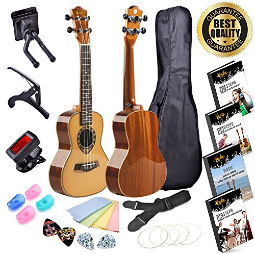 Handmade Ukulele Kit| Alto Concert Ukulele Bundle (X-Piece Set) Gig Bag, Clip-On Tuner, Capo, Display Stand, Microfiber Cloth, Padded Strap, Finger Protectors, Picks and Learning eBooks
