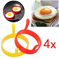 Hunpta Silicone Round Egg Rings Pancake Mold Ring W Handles Nonstick Fried Frying Pancake Mold (A)
