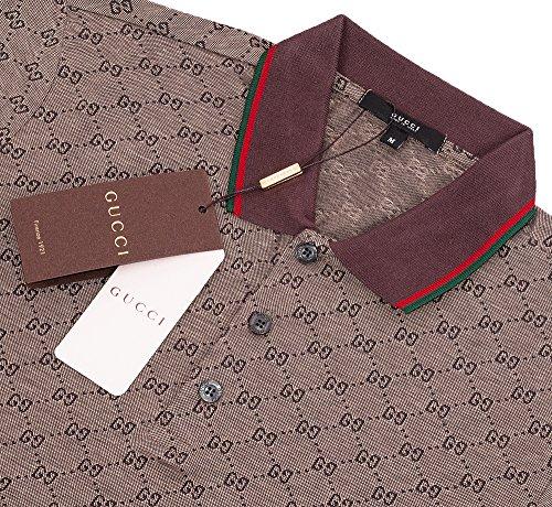 Gucci Polo Shirt, Mens Brown Short Sleeve Polo T- Shirt GG Print All Sizes (XL) by Gucci (Image #1)