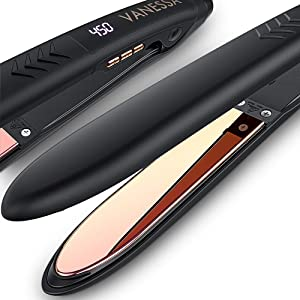 VANESSA Flat Iron Hair Straightener and Curler, Titanium Hair Straightener Flat Iron, Titanium Flat Iron Dual Voltage