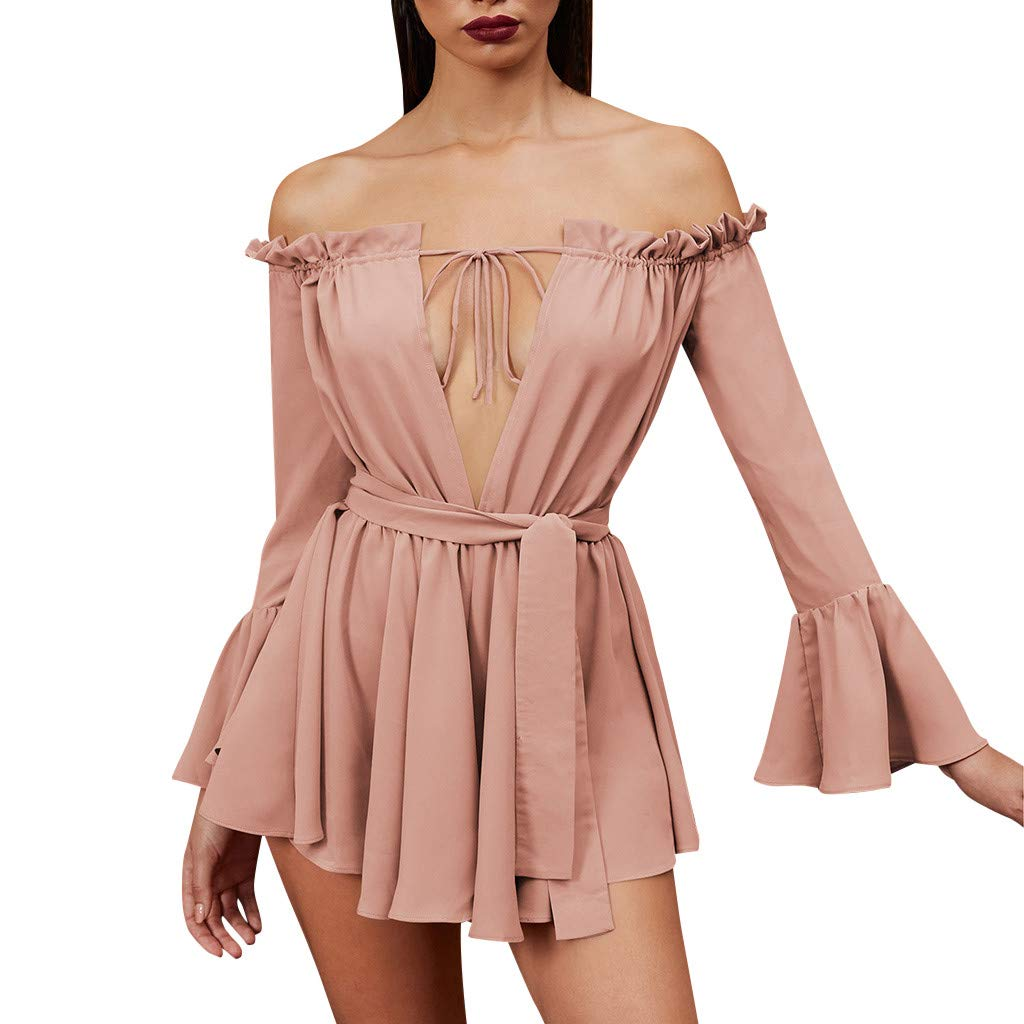 Forthery-Women Off The Shoulder Dress Long Sleeve Lace Up Loose Ruffle Sleeve Mini Dress(Pink,Small)