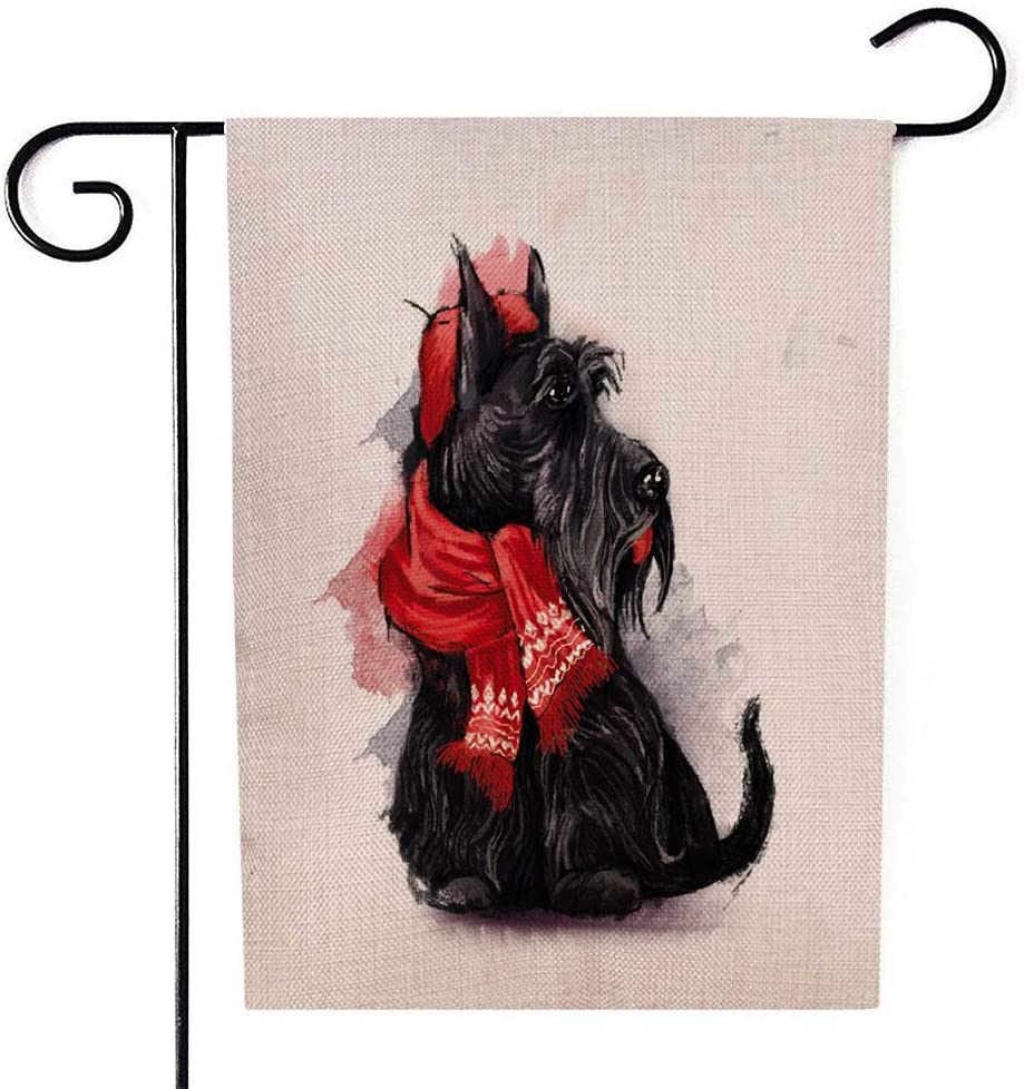 Bisead Outdoor Xmas Decorations,Double Sided 12.5X18 Inch Winter Garden Flag Black Scottish Terrier Wearing in Red Hat Scarf White Burlap Decorations,Outdoor Garden Flags,Christmas Garden Flag