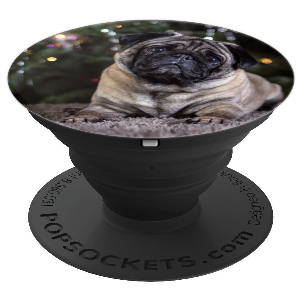 Cute Pug Under Christmas Tree | Dark Green & Twinkly Lights - PopSockets Grip and Stand for Phones and Tablets