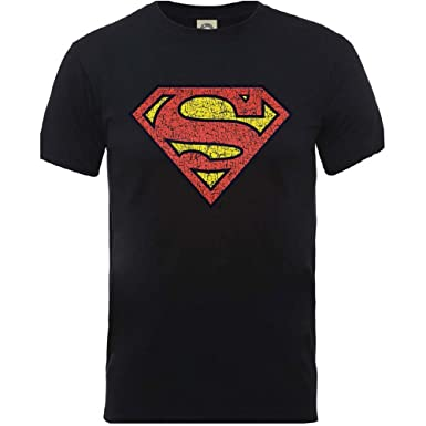 Superman Knistern Brust S-Logo X großen Herren schwarzes T-Shirt offiziellen