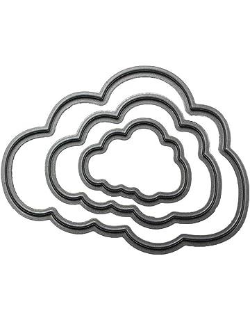 3 unidades de plantillas de troquelado de metal en forma de nube, plantilla para repujado